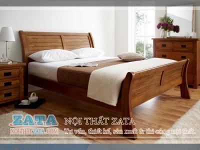 Giường ngủ gỗ Sồi đầu cong
